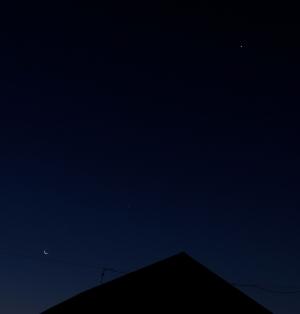 せっかくなので、東の金星-木星-月のならびを撮影